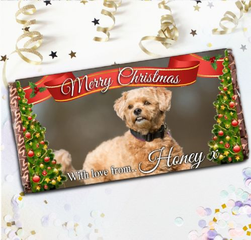 Personalised Charity Christmas Your Cat / Dog PHOTO Chocolate Bar - Stocking Filler Gift N111